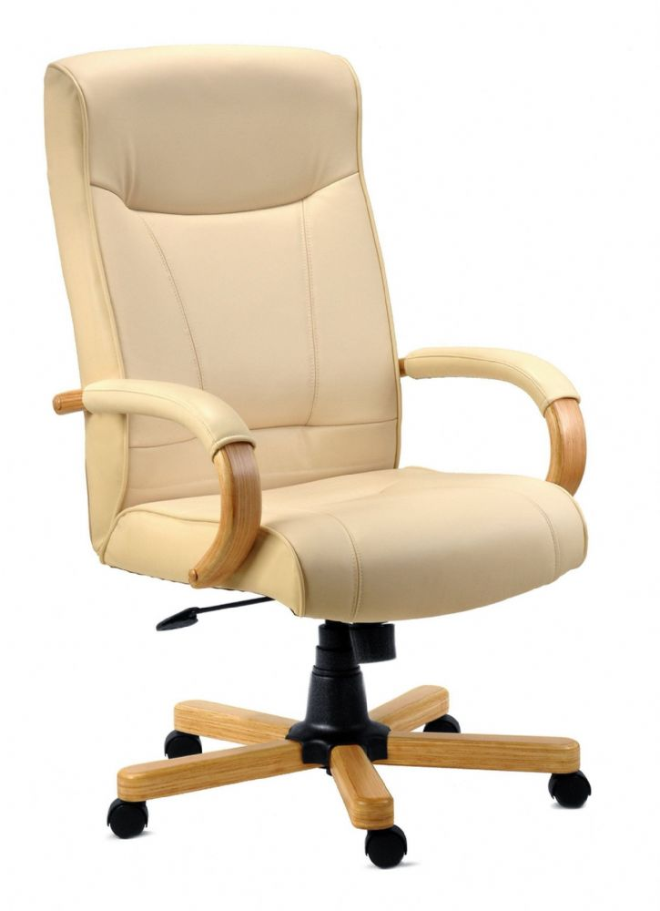 TEKNIK KNIGHTSBRIDGE Leather Executive Chair in Cream with Matching Arms